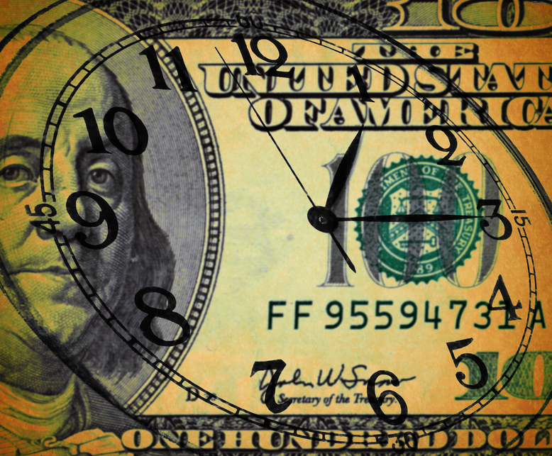 Grunge image of money and clock - Time is money concept